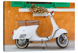 Lienzo  White scooter in front of a window