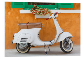 Cuadro de PVC  White scooter in front of a window