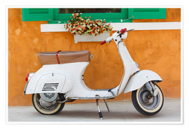 Póster  White scooter in front of a window