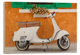 Cuadro de madera  White scooter in front of a window