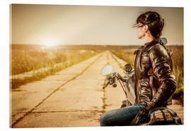 Cuadro de metacrilato  Biker girl in a brown leather jacket
