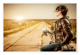 Póster  Biker girl in a brown leather jacket
