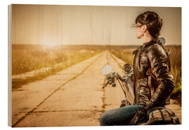 Cuadro de madera  Biker girl in a brown leather jacket
