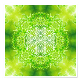 Póster  Flower of Life - Healing Power of Nature - Dolphins DreamDesign