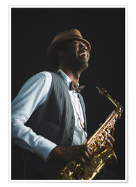 Póster  Saxophonist with hat and bow tie