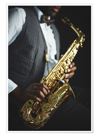 Póster Saxophone held by a jazzman