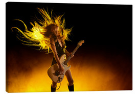 Lienzo  Rock girl with an electric guitar