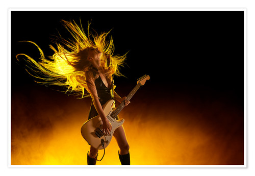 Póster Rock girl with an electric guitar