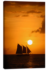 Lienzo  Sailing ship and sunset, Key West
