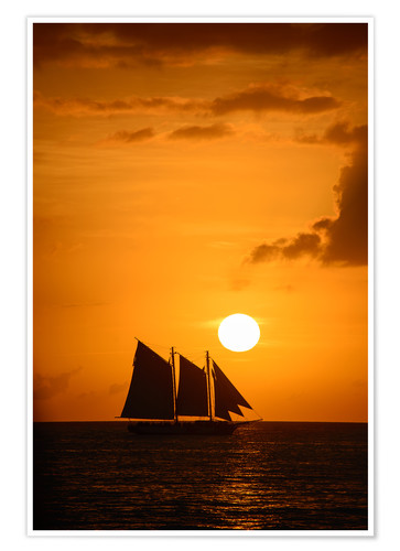 Póster Sailing ship and sunset, Key West