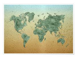 Póster Vintage World Map