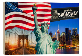 Cuadro de madera  New York City Photo Collage with Statue of Liberty - Jan Christopher Becke