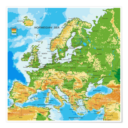 Póster Europe - Physical Map