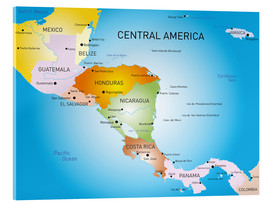Cuadro de metacrilato  Central America - Map