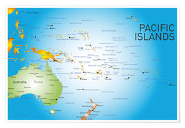 Póster Pacific Islands - Map