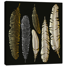 Lienzo  Feathers in Gold and Silver