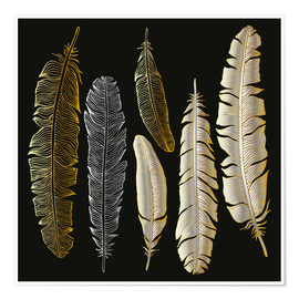 Póster  Feathers in Gold and Silver