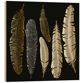 Cuadro de madera  Feathers in Gold and Silver