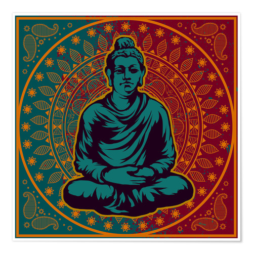 Póster Buddha on a Mandala