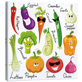 Lienzo  Funny vegetables - Kidz Collection