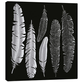 Lienzo  Feathers in silver