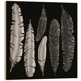 Cuadro de madera  Feathers in silver