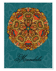 Póster  Mandala on blue