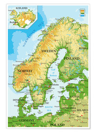 Póster  Scandinavia - Map