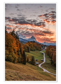 Póster  Sunset over Zugspitze Mountain, Bavaria - Achim Thomae