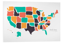 Cuadro de PVC  USA map modern abstract with round shapes - Ingo Menhard