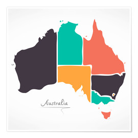 Póster  Australia map modern abstract with round shapes - Ingo Menhard