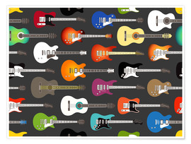 Póster  Estampado de guitarras - Kidz Collection