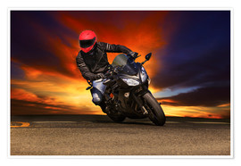 Póster  Motorcyclist in a curve