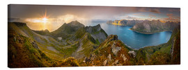 Lienzo  Panoramic View from Husfjellet Mountain on Senja Island during Sunset, Noway - Markus Ulrich