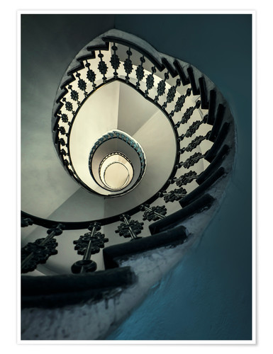 Póster Spiral staircase in beige and blue