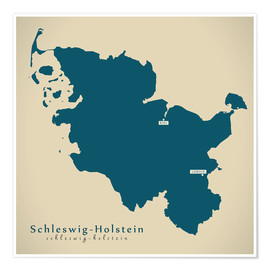 Póster  Schleswig Holstein DE Germany Map Artwork - Ingo Menhard