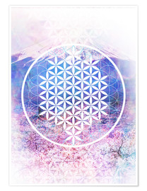 Póster  Flower Of Life - Moon Berry Prints