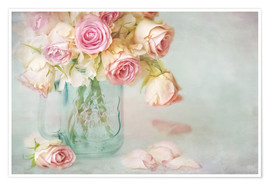Póster  lovely pink roses - Lizzy Pe