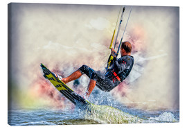 Lienzo  Kitesurfer on waves - Peter Roder