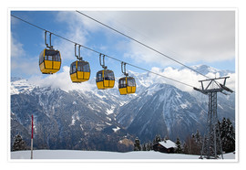 Póster  Cable car in the Alps