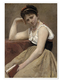 Póster  Interrupted Reading - Jean-Baptiste Camille Corot