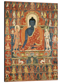 Aluminio-Dibond  Painted Banner (Thangka) with the Medicine Buddha (Bhaishajyaguru) - Tibetan School