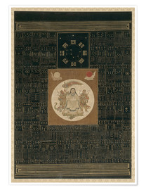 Póster Zhenwu with the Eight Trigrams, the Northern Dipper, and Talismans, Qing dynasty