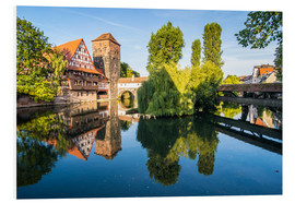 Cuadro de PVC  Old timbered houses and hanging tower, Nuremberg, Middle Franconia, Bavaria, Germany, Europe - Michael Runkel