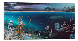 Cuadro de PVC  Cretaceous land and marine life, artwork - Richard Bizley