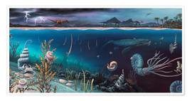 Póster  Cretaceous land and marine life, artwork - Richard Bizley