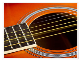 Póster  Guitar strings at rest and vibrating