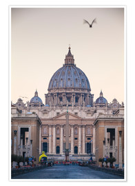 Póster St. Peter's Basilica, Vatican, UNESCO World Heritage Site, Rome, Lazio, Italy, Europe
