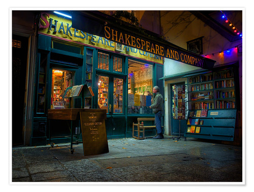 Póster Shakespeare and Company bookstore, Paris, France, Europe