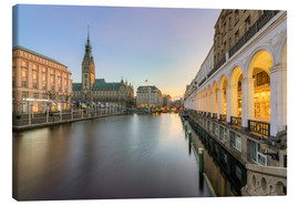 Lienzo  Hamburg Alster Arcades and City Hall - Michael Valjak
